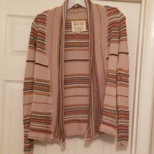 Billabong S/P tan striped cozy sweater/cardigan